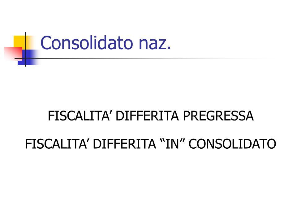 Consolidato naz. FISCALITA' DIFFERITA PREGRESSA