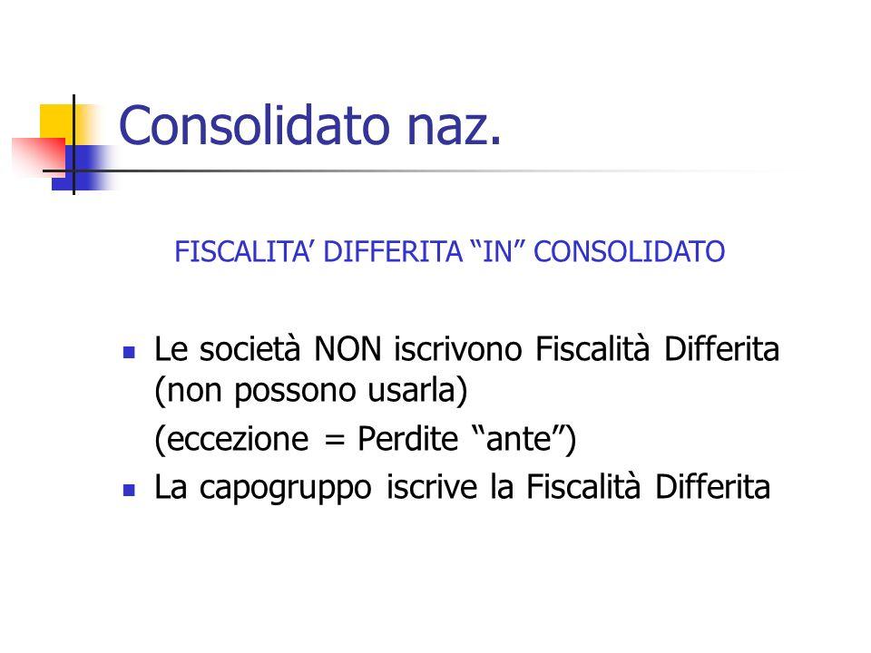 FISCALITA' DIFFERITA IN CONSOLIDATO