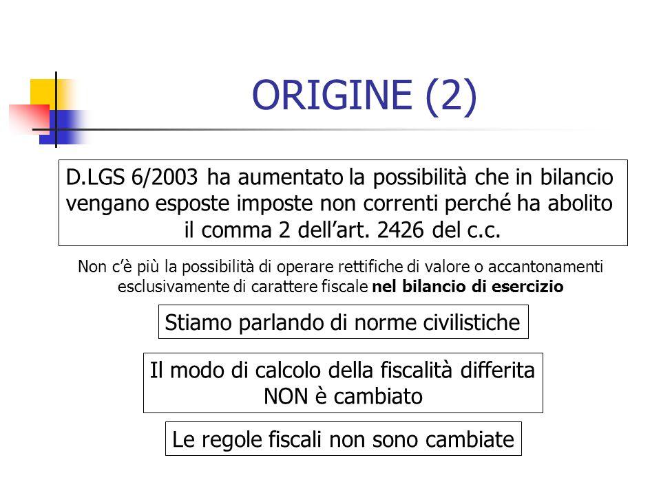 ORIGINE (2) D.LGS 6/2003 ha aumentato la possibilità che in bilancio