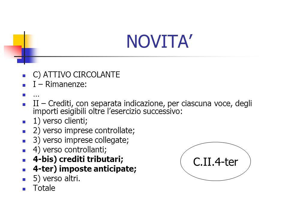 NOVITA' C.II.4-ter C) ATTIVO CIRCOLANTE I – Rimanenze: …