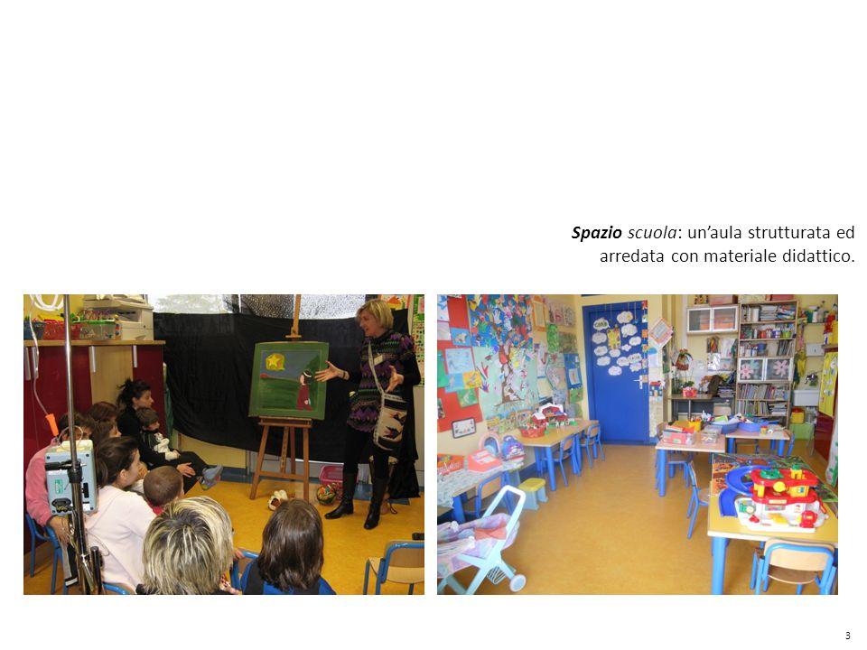 Spazio scuola: un'aula strutturata ed arredata con materiale didattico.