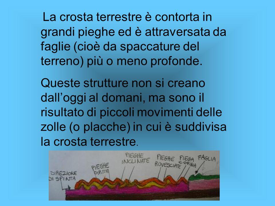 La crosta terrestre è contorta in grandi pieghe ed è attraversata da faglie (cioè da spaccature del terreno) più o meno profonde.