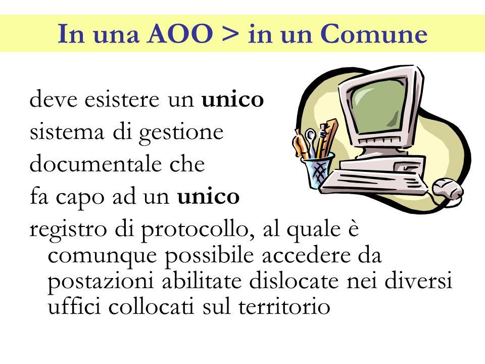 In una AOO > in un Comune