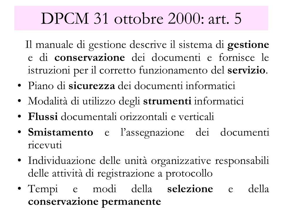 DPCM 31 ottobre 2000: art. 5