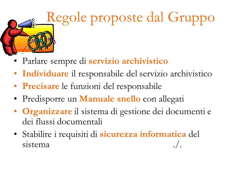 Regole proposte dal Gruppo