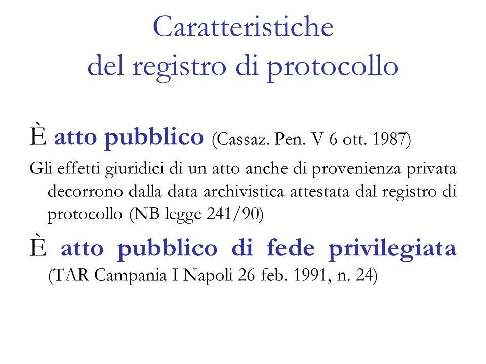 Caratteristiche del registro di protocollo