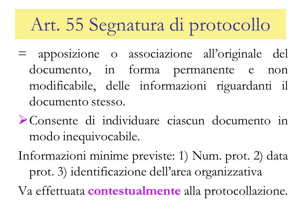 Art. 55 Segnatura di protocollo