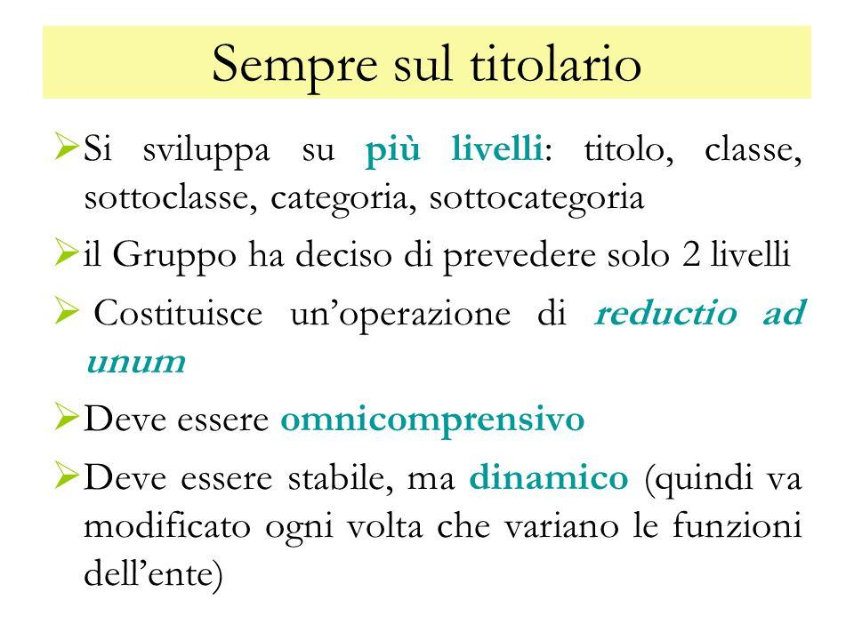 Sempre sul titolario Si sviluppa su più livelli: titolo, classe, sottoclasse, categoria, sottocategoria.