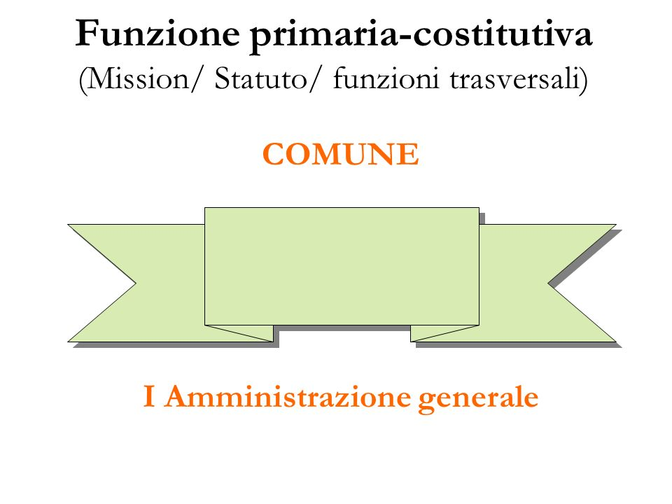 Funzione primaria-costitutiva (Mission/ Statuto/ funzioni trasversali)
