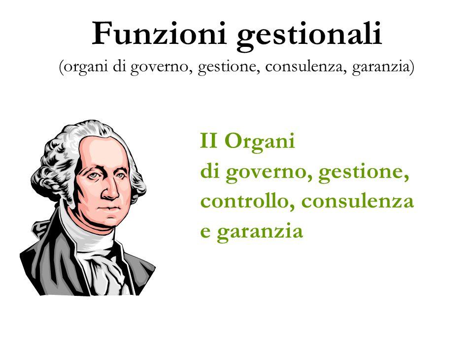 Funzioni gestionali (organi di governo, gestione, consulenza, garanzia)