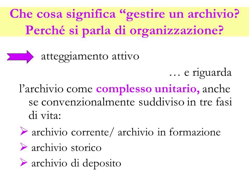 Che cosa significa gestire un archivio
