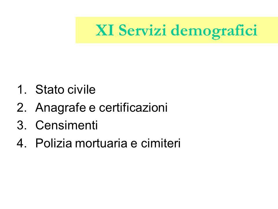 XI Servizi demografici