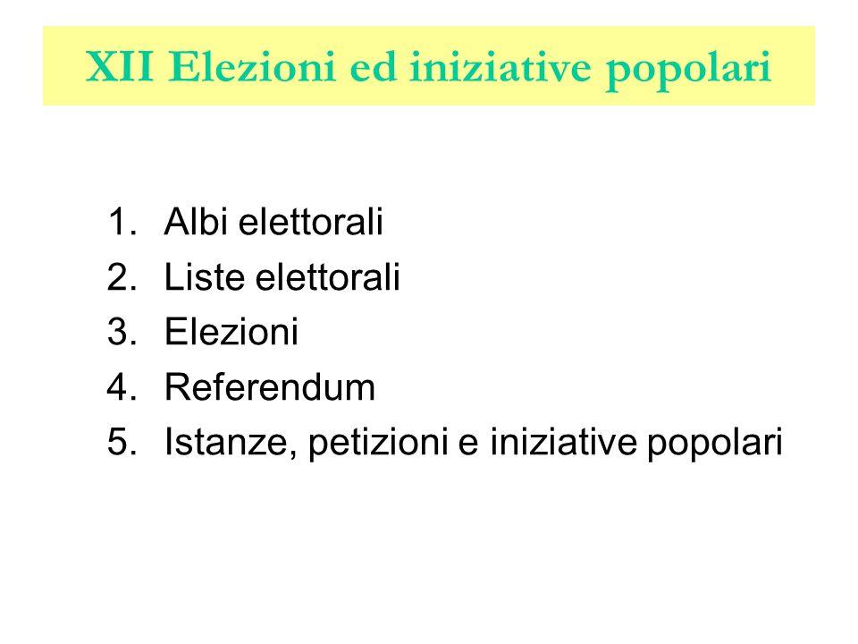 XII Elezioni ed iniziative popolari