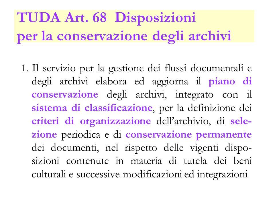 TUDA Art. 68 Disposizioni per la conservazione degli archivi