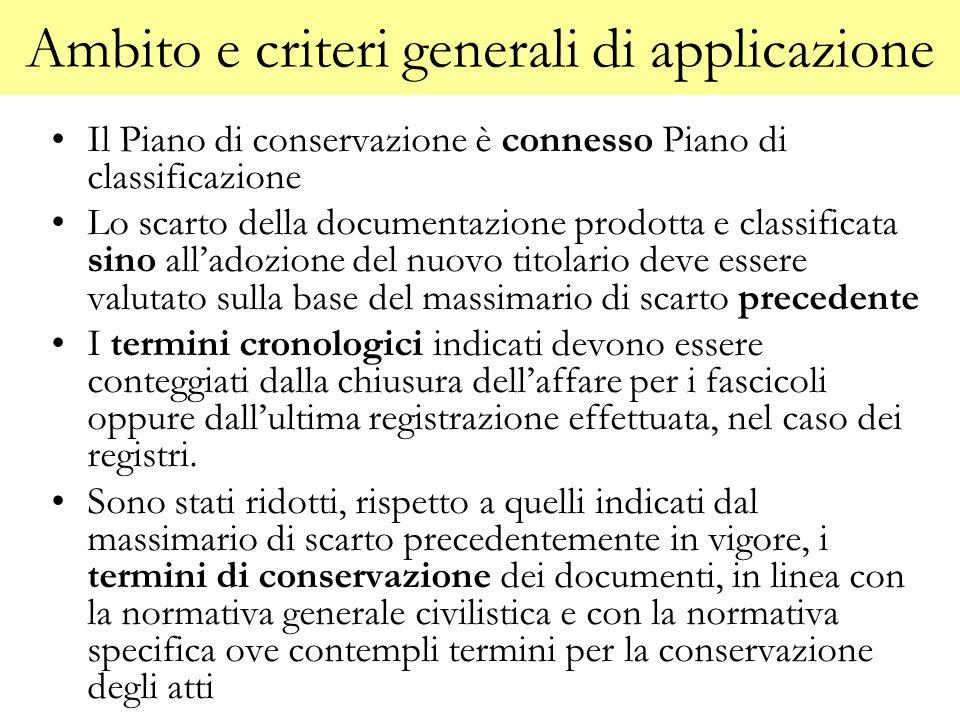 Ambito e criteri generali di applicazione
