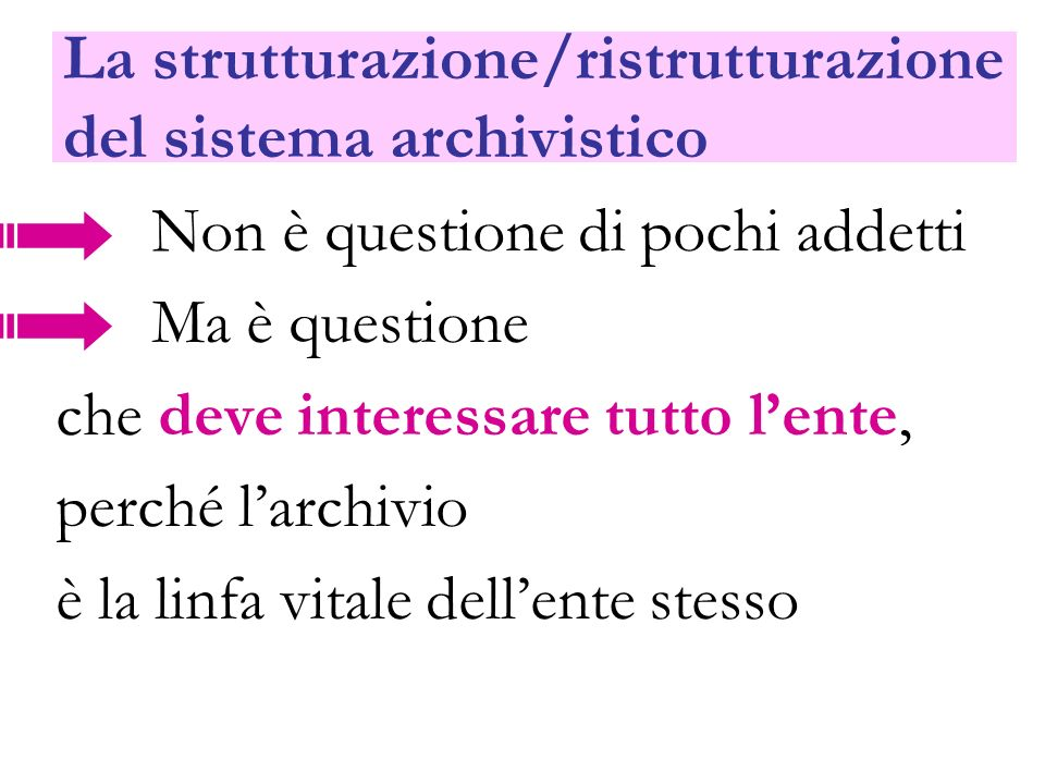 La strutturazione/ristrutturazione del sistema archivistico