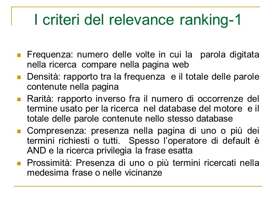 I criteri del relevance ranking-1