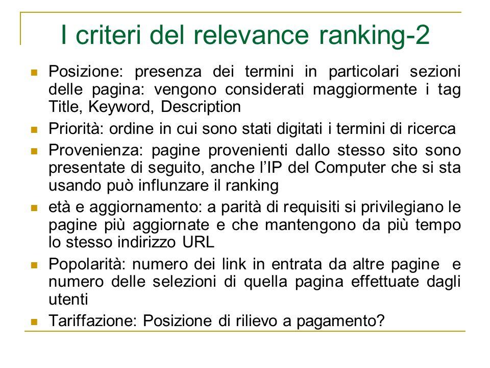 I criteri del relevance ranking-2