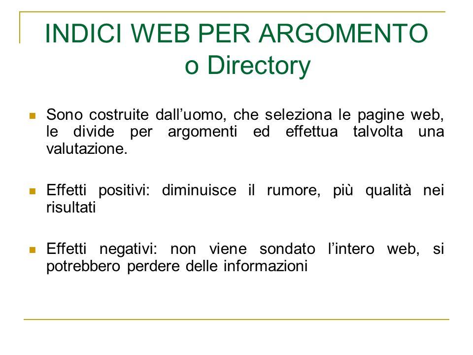 INDICI WEB PER ARGOMENTO o Directory