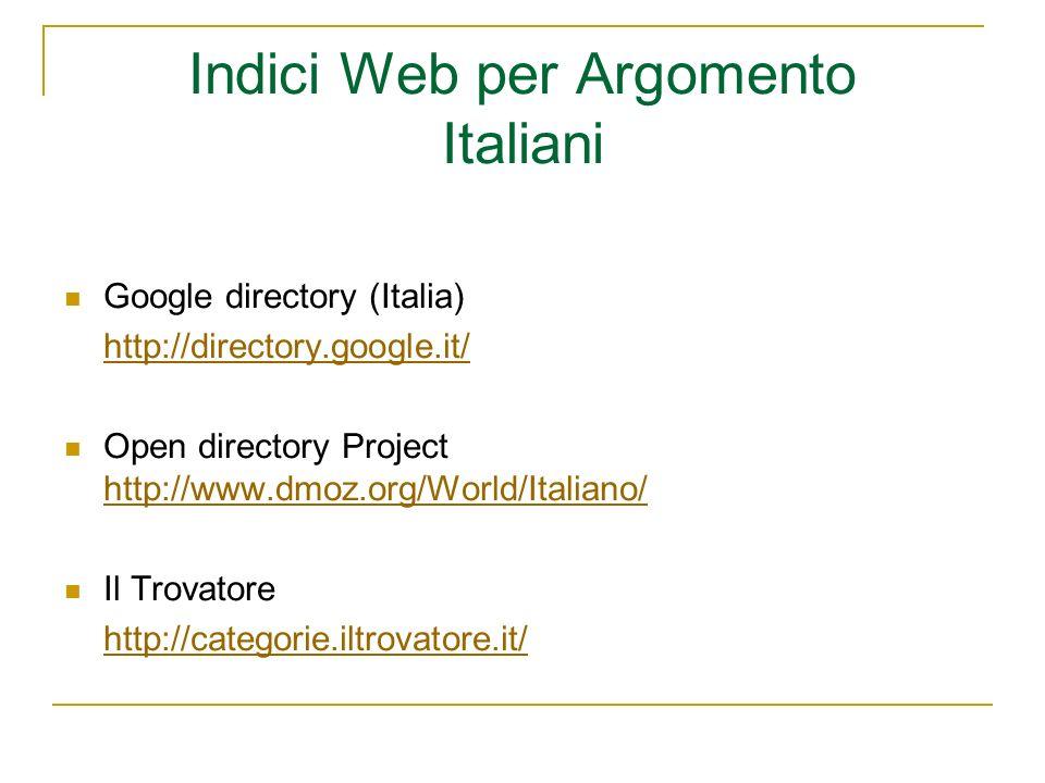 Indici Web per Argomento Italiani