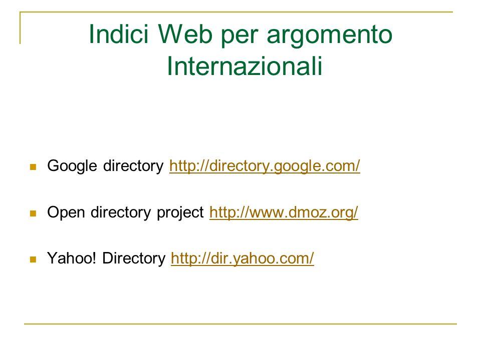 Indici Web per argomento Internazionali