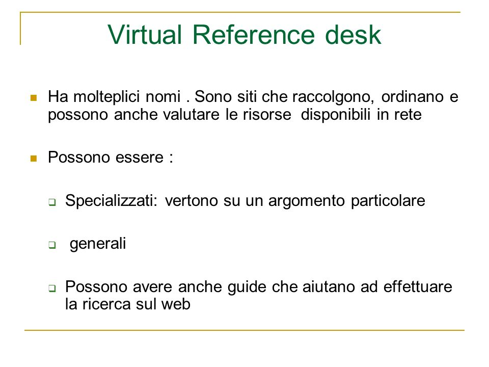 Virtual Reference desk