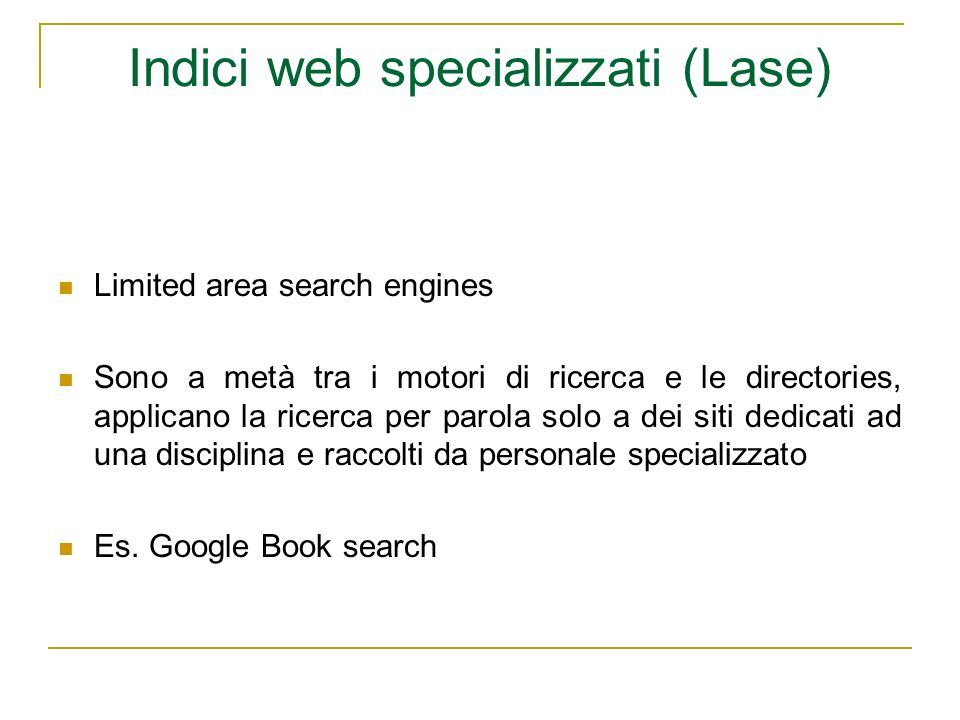 Indici web specializzati (Lase)