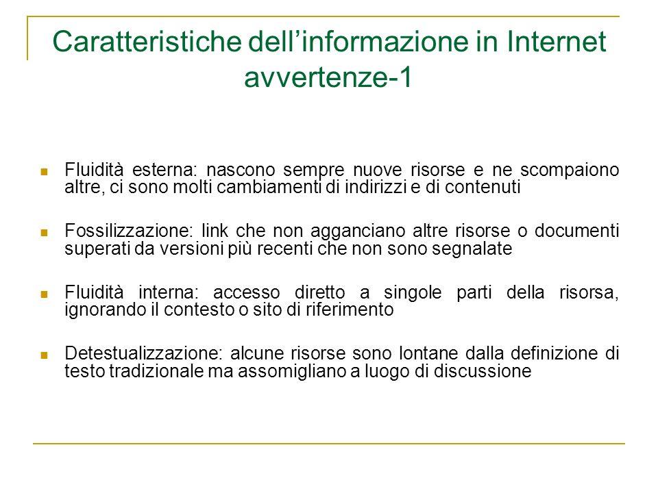 Caratteristiche dell'informazione in Internet avvertenze-1