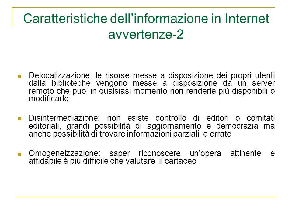 Caratteristiche dell'informazione in Internet avvertenze-2