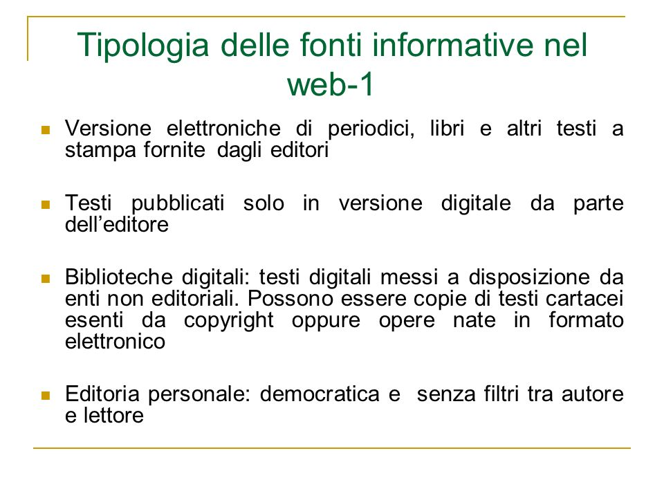 Tipologia delle fonti informative nel web-1