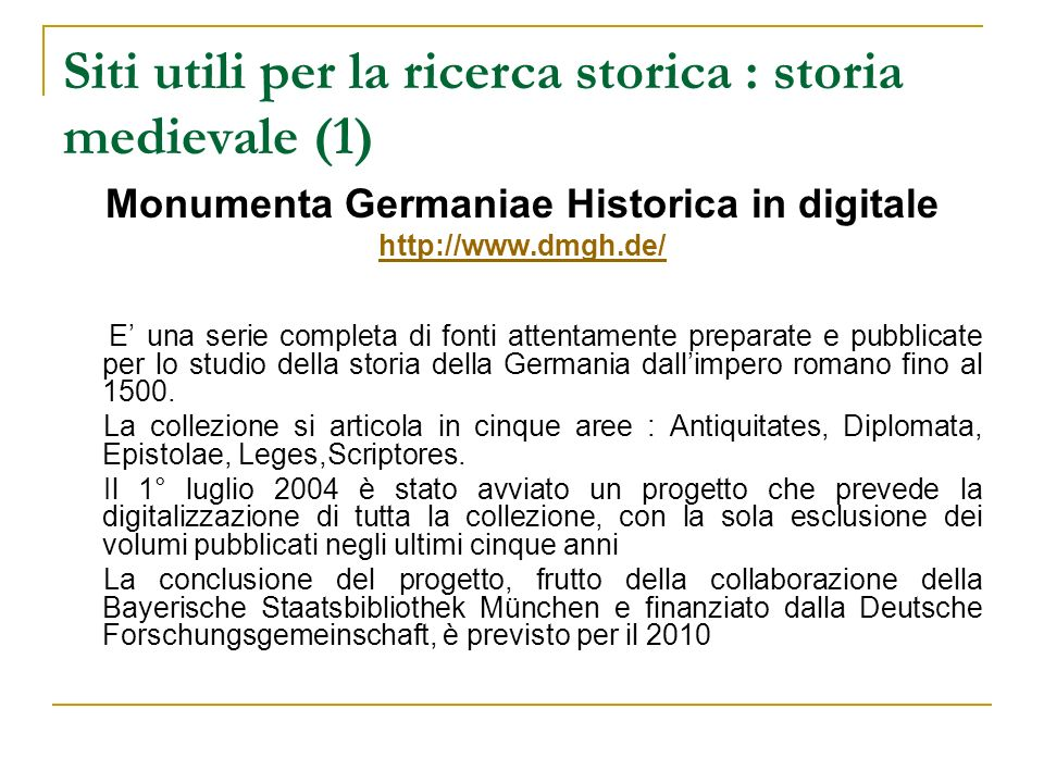 Siti utili per la ricerca storica : storia medievale (1)
