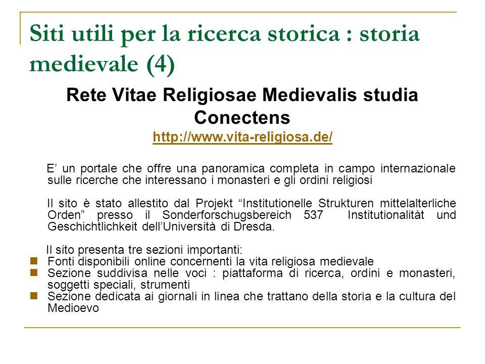 Siti utili per la ricerca storica : storia medievale (4)
