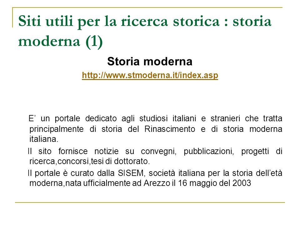 Siti utili per la ricerca storica : storia moderna (1)