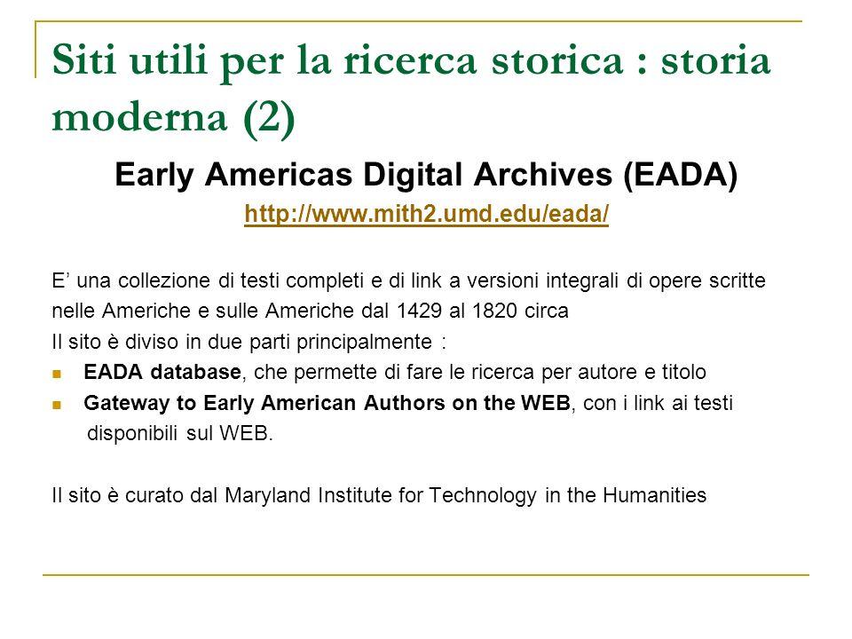 Siti utili per la ricerca storica : storia moderna (2)