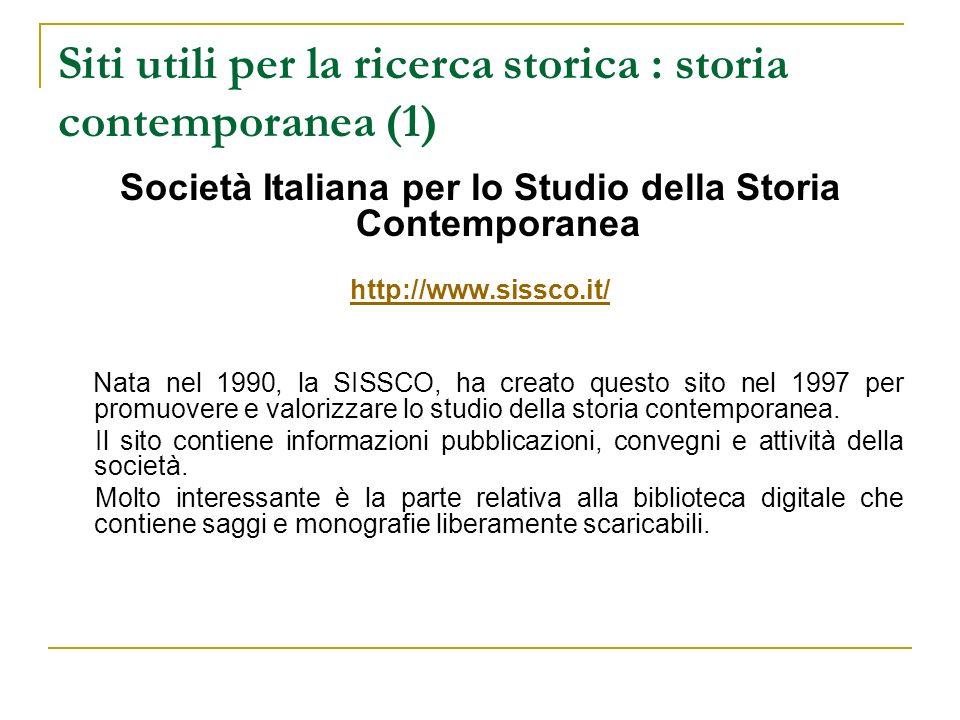 Siti utili per la ricerca storica : storia contemporanea (1)