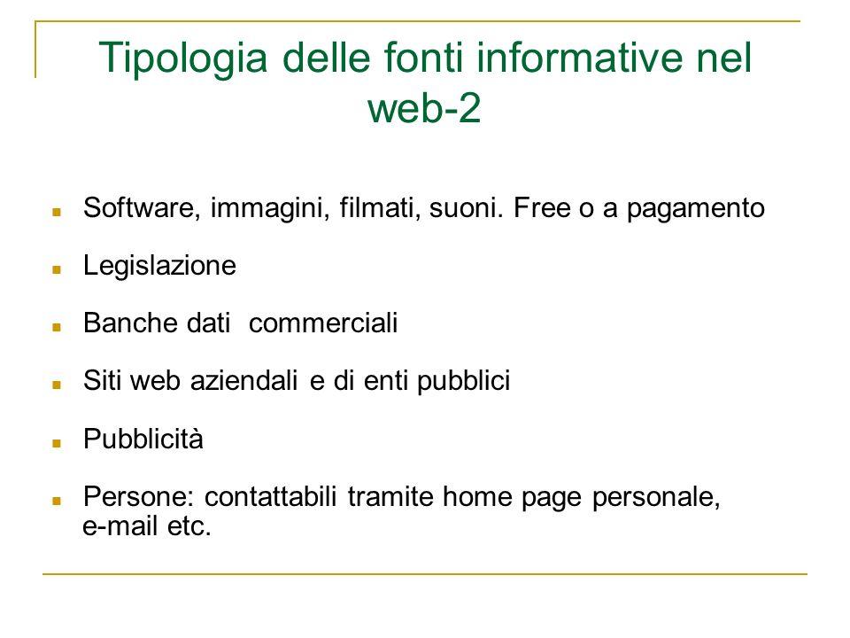 Tipologia delle fonti informative nel web-2