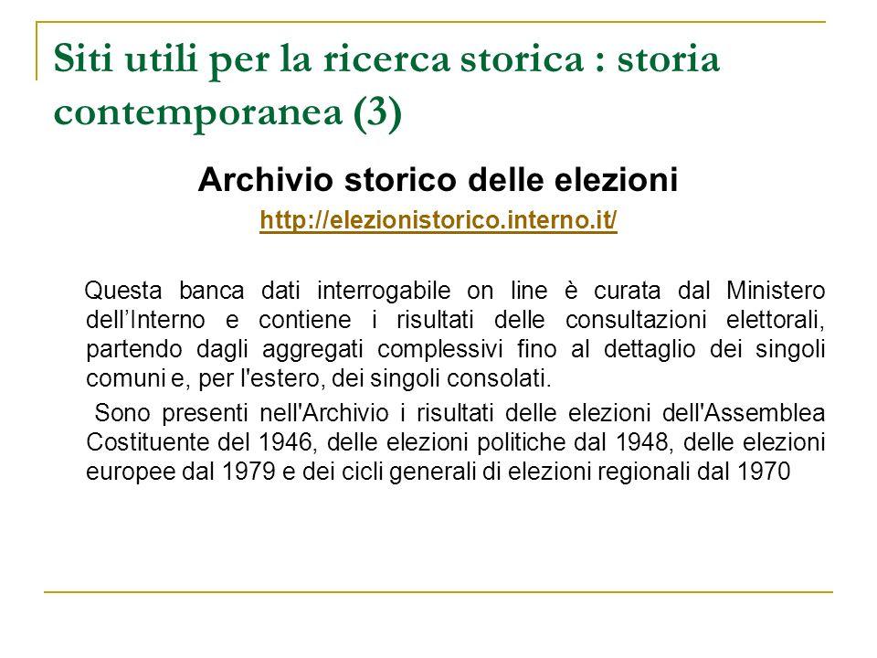 Siti utili per la ricerca storica : storia contemporanea (3)