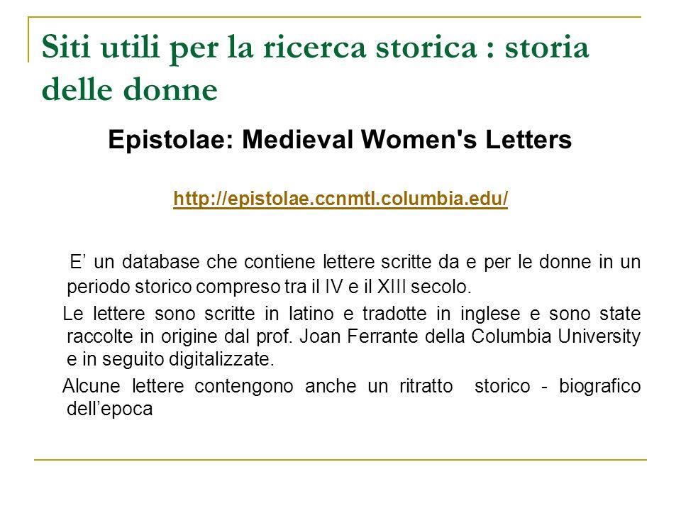Siti utili per la ricerca storica : storia delle donne