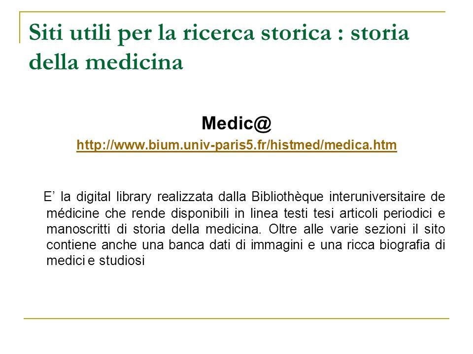 Siti utili per la ricerca storica : storia della medicina