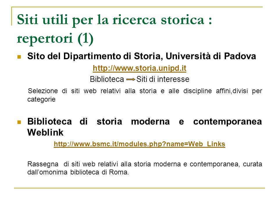 Siti utili per la ricerca storica : repertori (1)