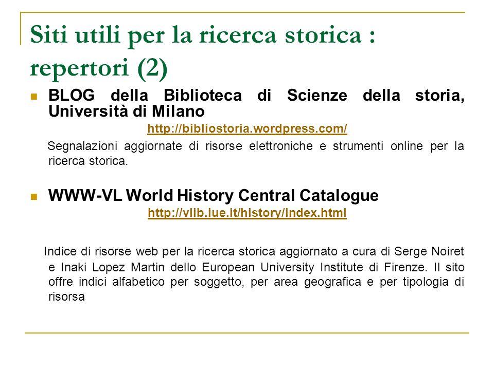 Siti utili per la ricerca storica : repertori (2)