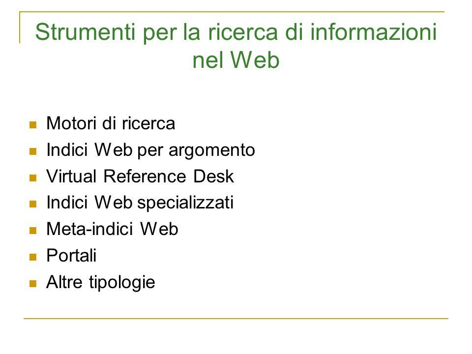 Strumenti per la ricerca di informazioni nel Web
