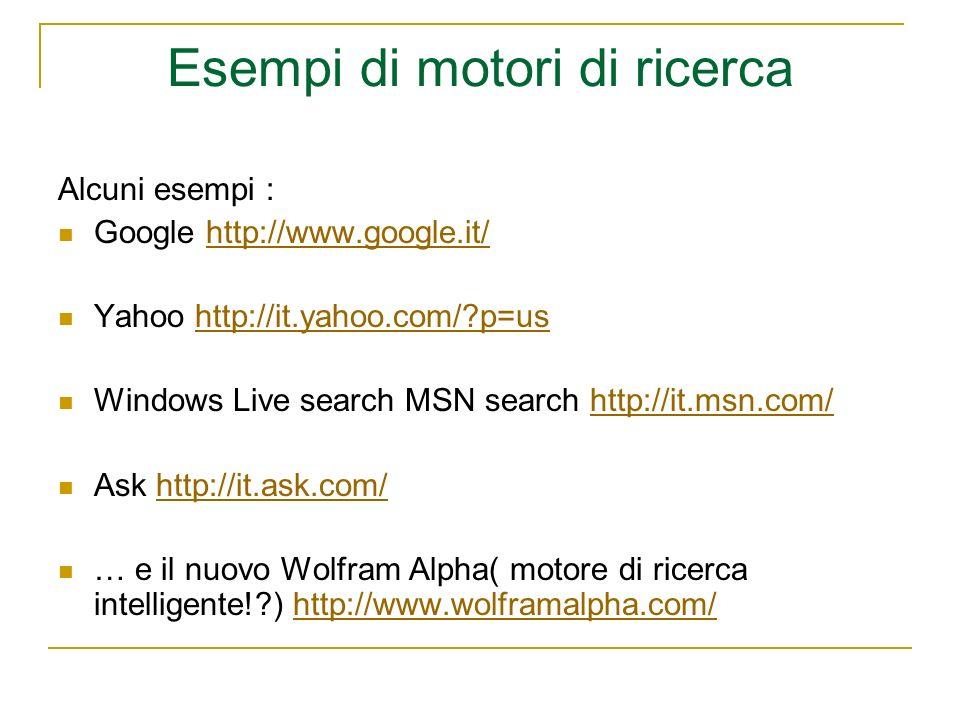 Esempi di motori di ricerca