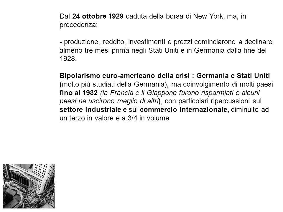 Dal 24 ottobre 1929 caduta della borsa di New York, ma, in precedenza: