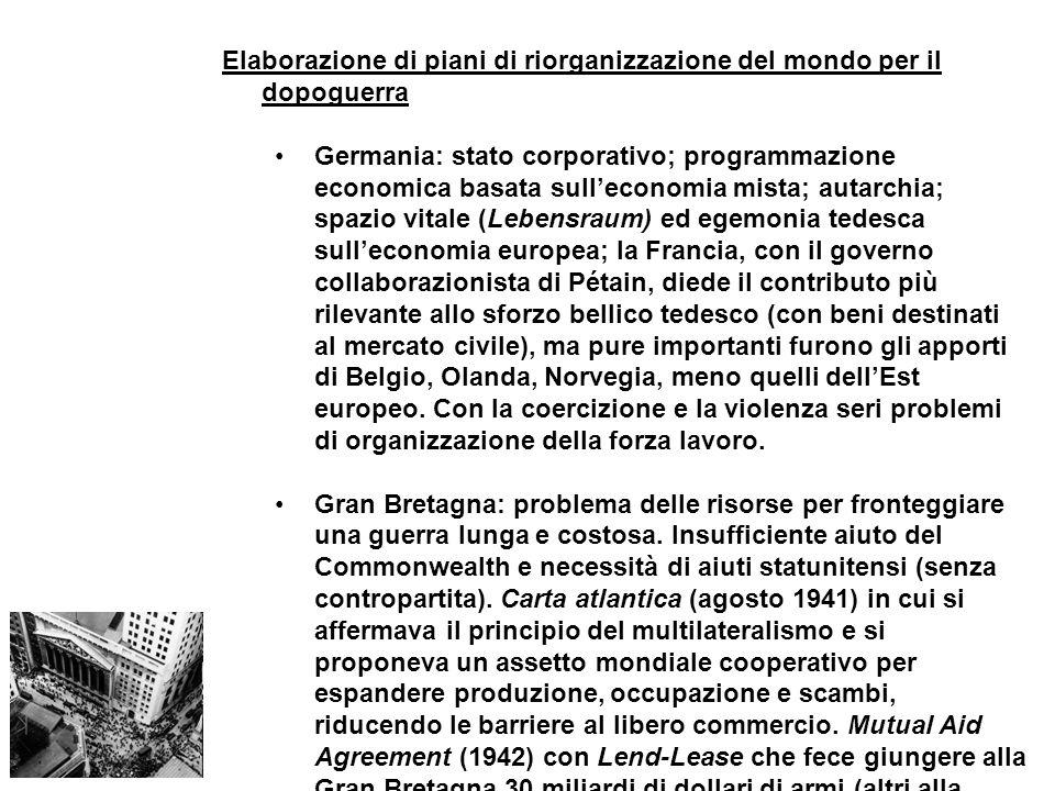 Elaborazione di piani di riorganizzazione del mondo per il dopoguerra