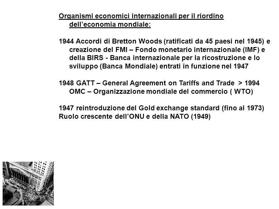 Organismi economici internazionali per il riordino dell'economia mondiale: