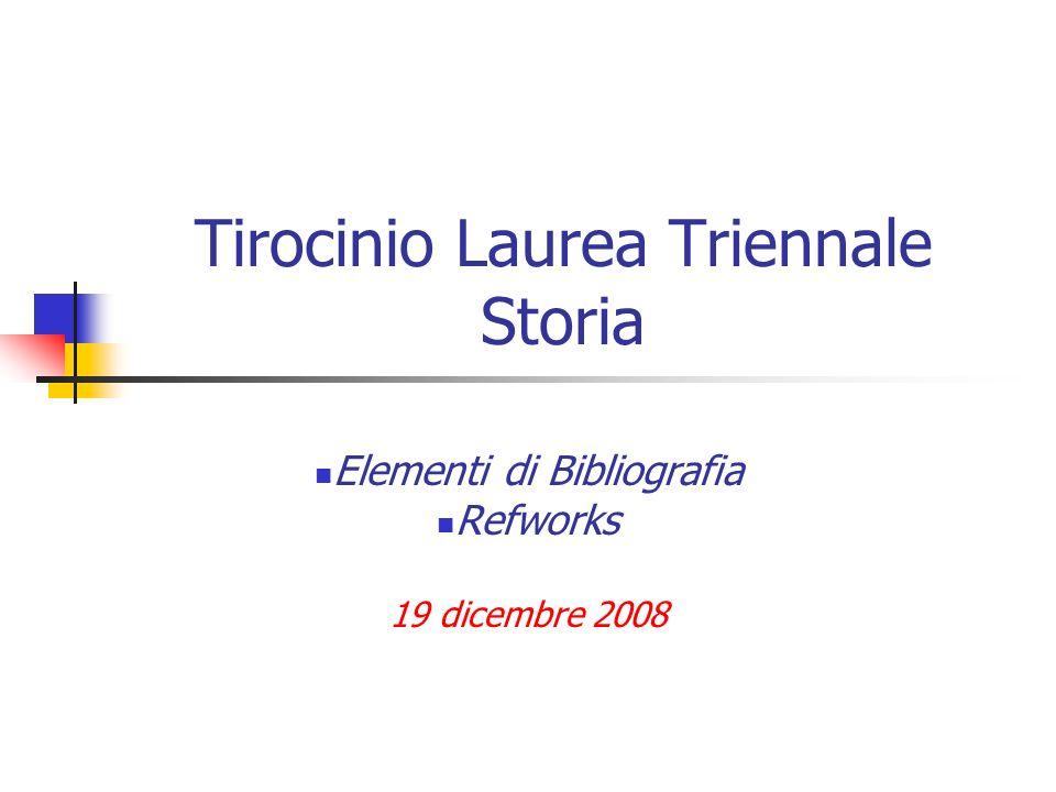 Tirocinio Laurea Triennale Storia