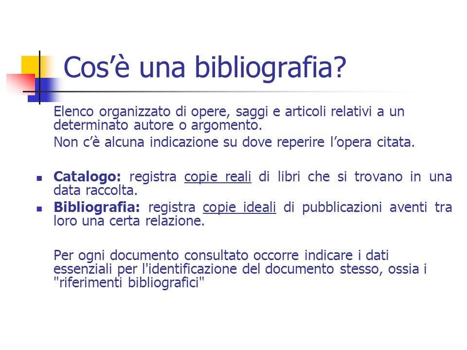 Cos'è una bibliografia