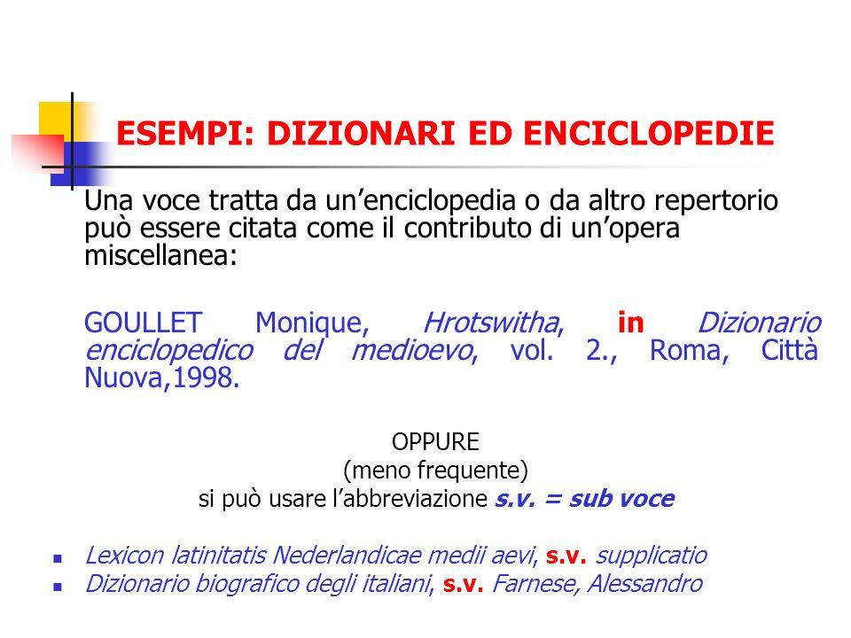 ESEMPI: DIZIONARI ED ENCICLOPEDIE