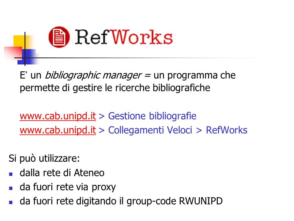 E' un bibliographic manager = un programma che permette di gestire le ricerche bibliografiche